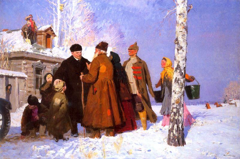 Viktor Tsyplakov - Lenin and Peasants